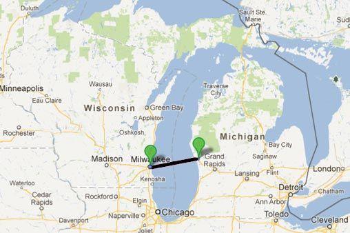 lake michigan ferry routes map Lake Express Lake Michigan Ferry Route Michigan Lake Michigan lake michigan ferry routes map