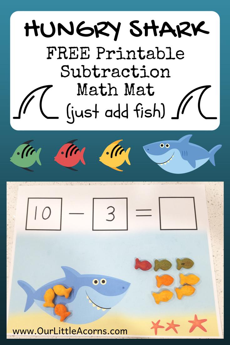 Hungry Shark Free Printable Subtraction Mat Kindergarten Math Games Subtraction Activities Math Activities [ 1102 x 735 Pixel ]