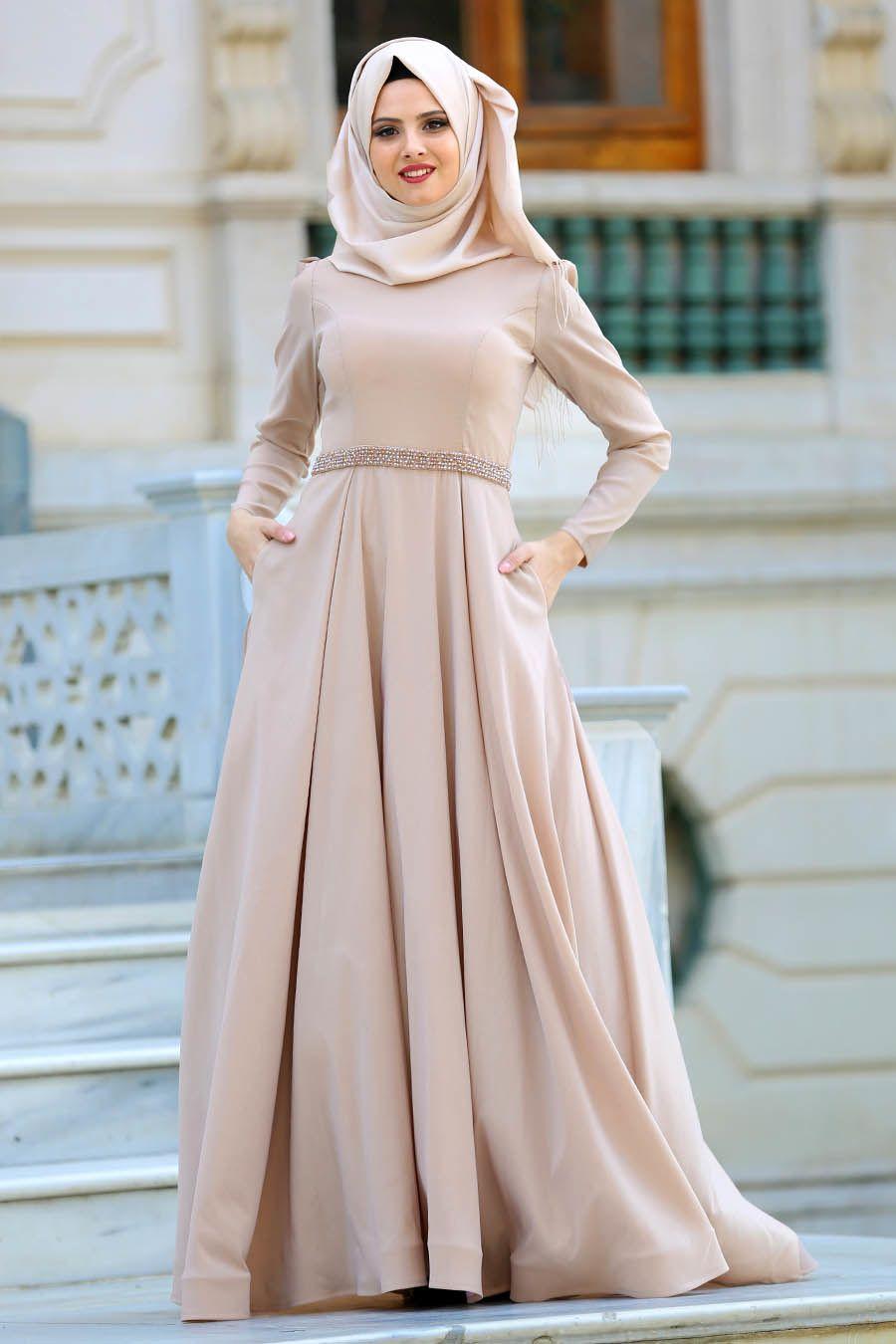 Tuay Beli Boncuklu Bej Tafta Tesettur Abiye Elbise 2251bej Tesetturisland Com The Dress Aksamustu Giysileri Elbise