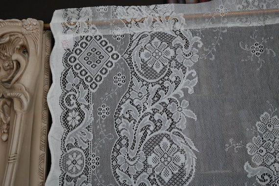 """Laura Ashley Victorian style cotton lace curtain panel 36/""""by 36/"""" Jessica Cream"""