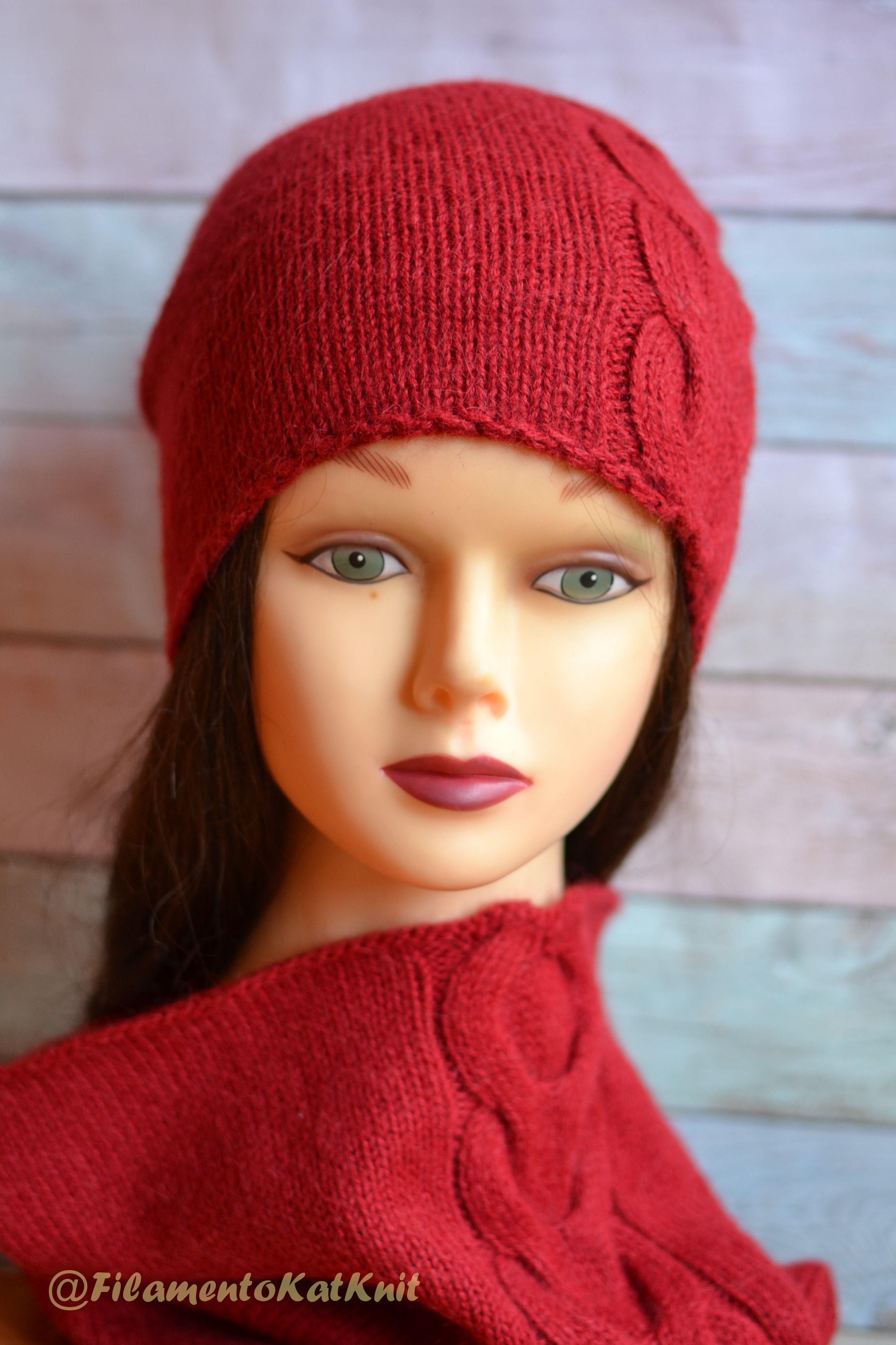 Hand Knit Alpaca wool yarn Slouchy Beanie hat Seamless Handmade ... a8f7b87af47c