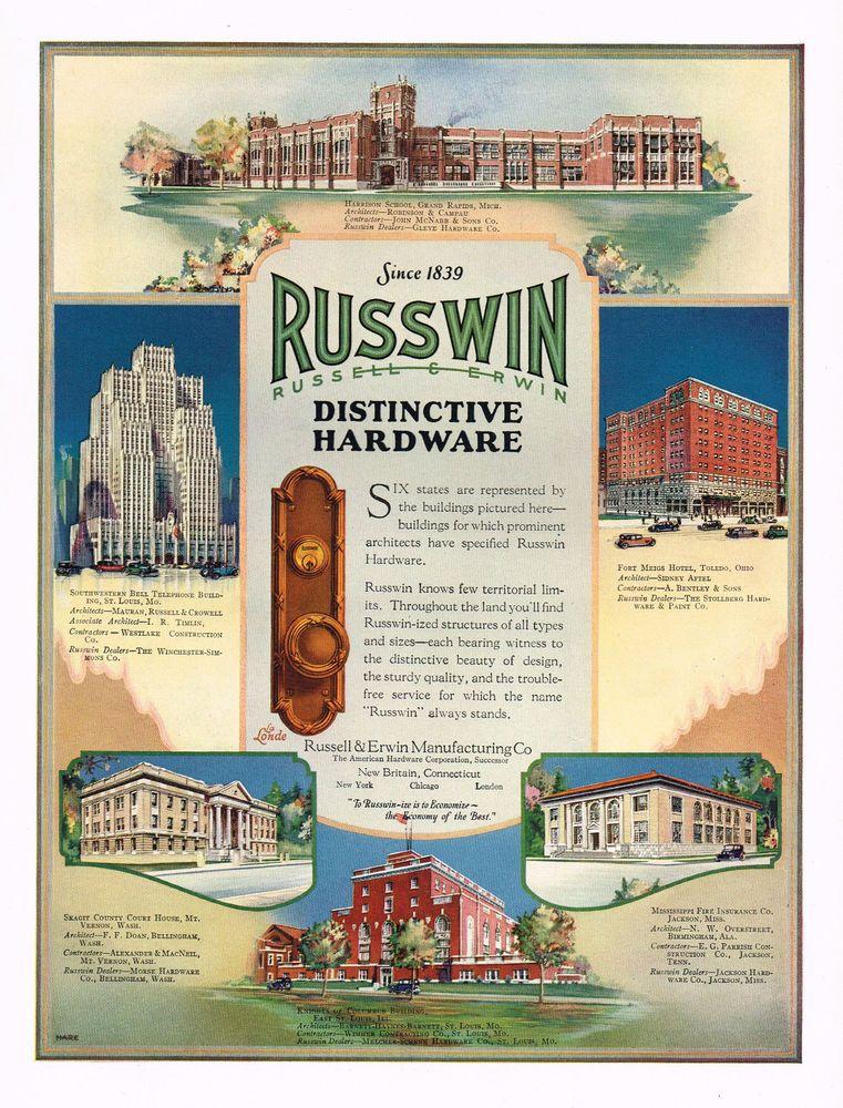 1920 S Big Vintage Russwin Hardware Art Deco Period Buildings