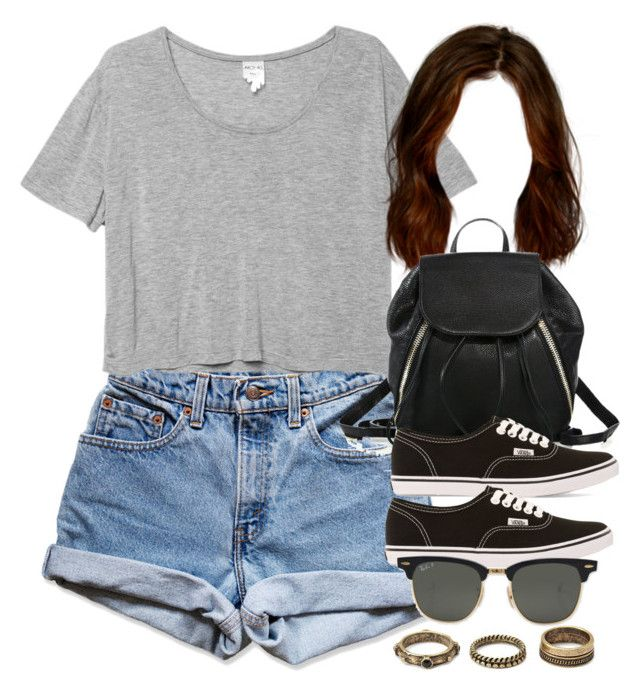"""""""Style #10558"""" by vany-alvarado ❤ liked on Polyvore featuring Levi's, Monki, Rebecca Minkoff, Vans, Ray-Ban and Forever 21"""