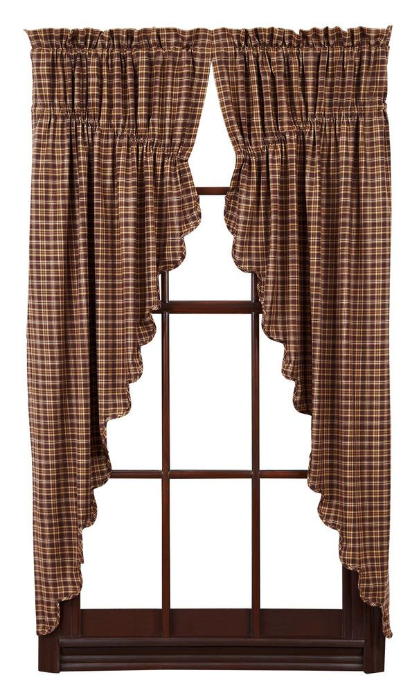 New Primitive Country Brown Tan Cream Check Plaid Prairie Curtain Window Swags Country Style Curtains Primitive Curtains Curtains