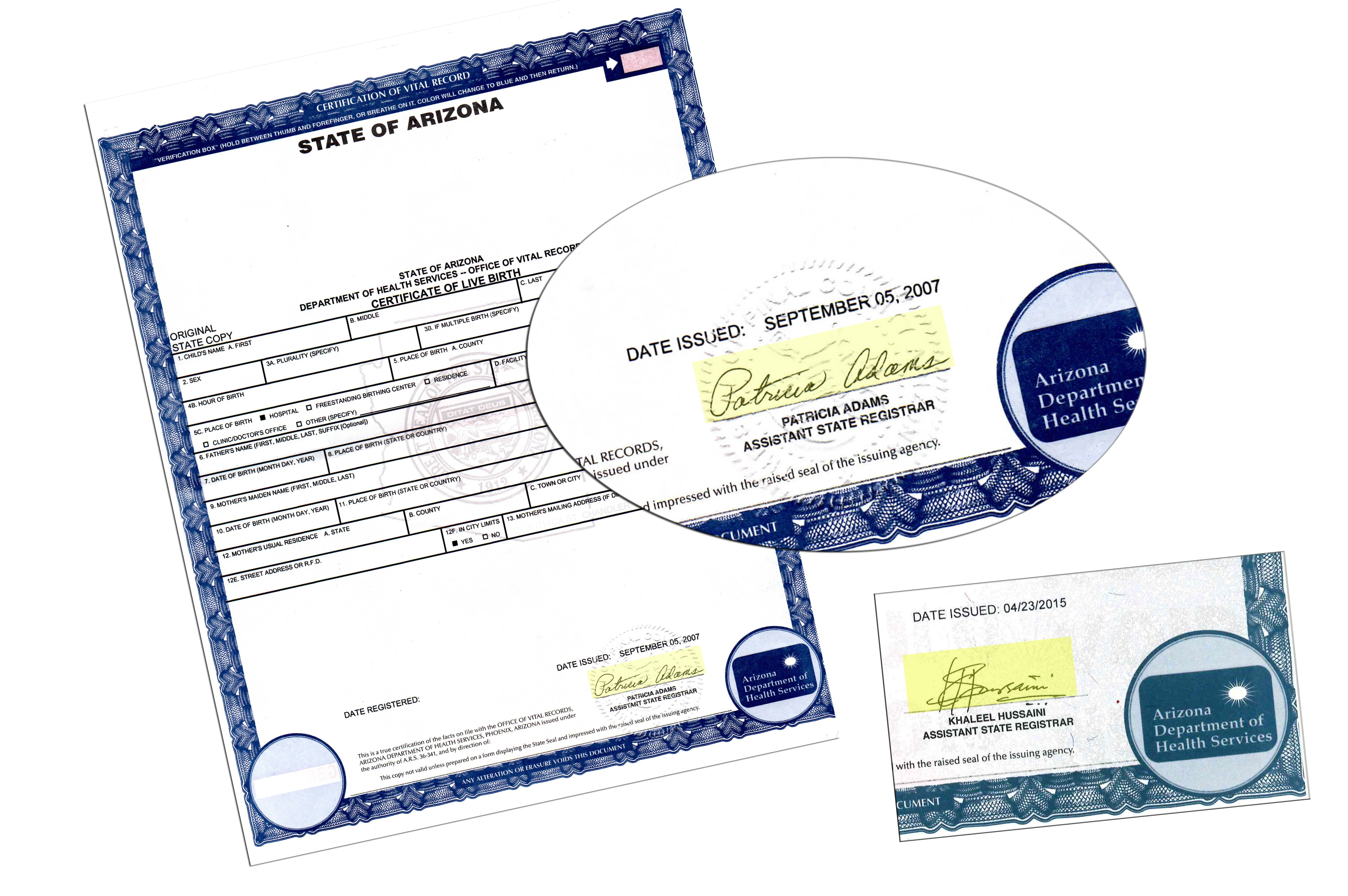 Arizona Certificate Live Birth Signed By Patricia Adams State Of