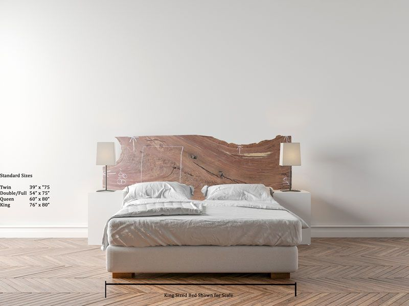 Claro Walnut King Size Headboard Natural Live Edge Raw Wood Slab Wooden Custum Rustic Chic Unique Furniture Diy Unfinished One Of A Kind Board Plank Lumber