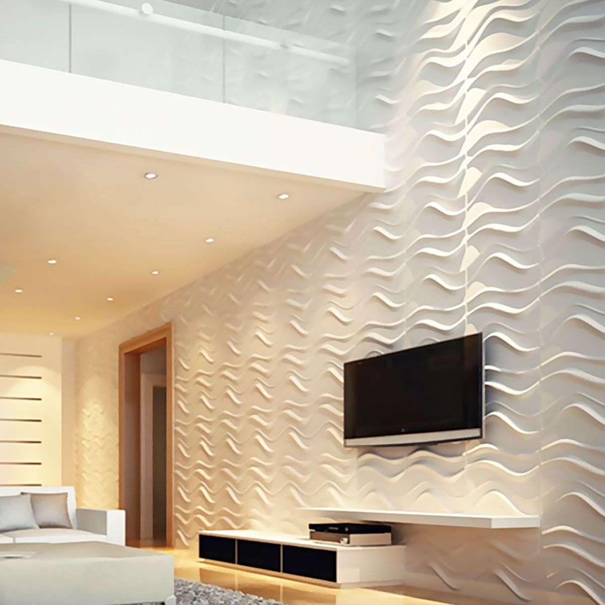 Wave Endurawall Decorative Wall Panel White