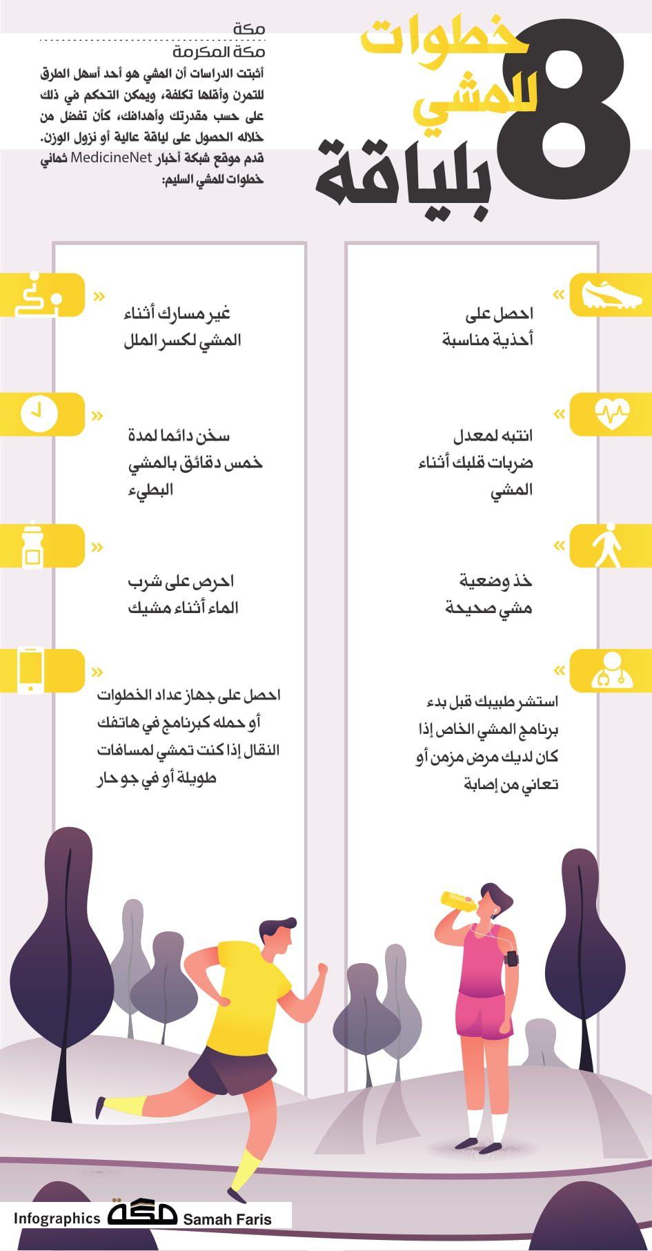 8خطوات للمشي بلياقة صحيفة مكة انفوجرافيك صحة Infographic Graphic Design Positivity
