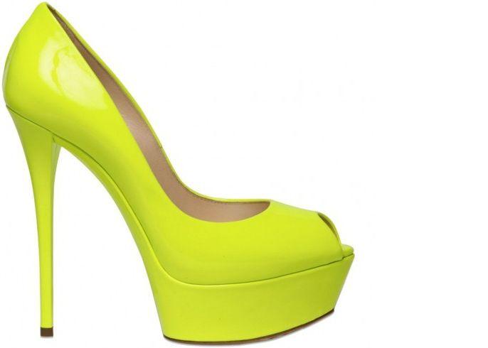 neon yellow peep toe pums