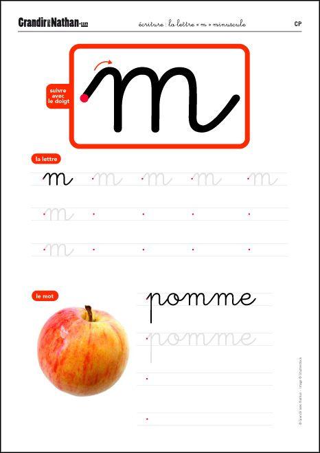 la lettre « m » minuscule | Lettre a, Fiches de travail ...