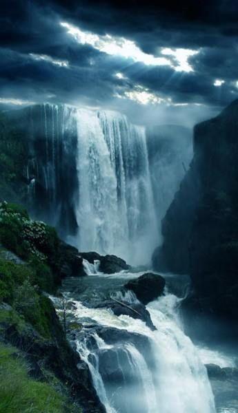 Waterfall From Heaven Waterfall Beautiful Landscapes Beautiful Waterfalls