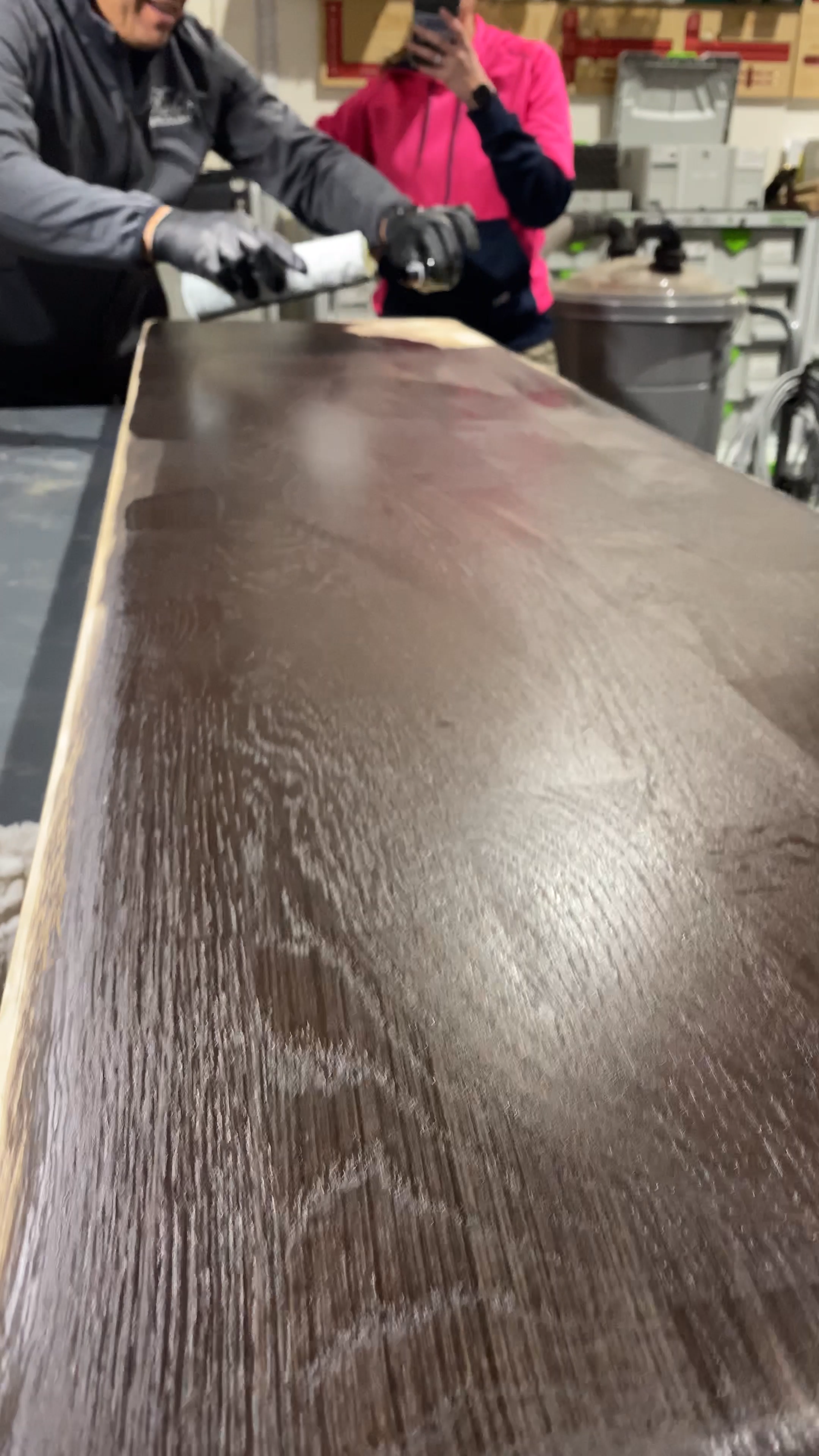 Finishing White Oak Cushion For Liveedge Beech Couch With Natural Wood Finish During Our R In 2020 Wood Floor Stain Colors Staining Wood Natural Wood Finish