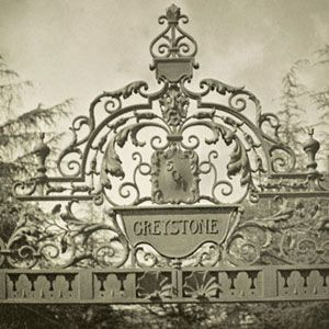 Greystone Estate Gate: Detail of gate on Doheny Road in 1945.