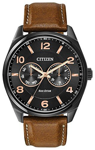 23a3b353b Citizen-Watch-Mens-Quartz-Watch-with-Black-Dial-Analogue-Display-and-Brown- Leather-Strap-AO9025-05E