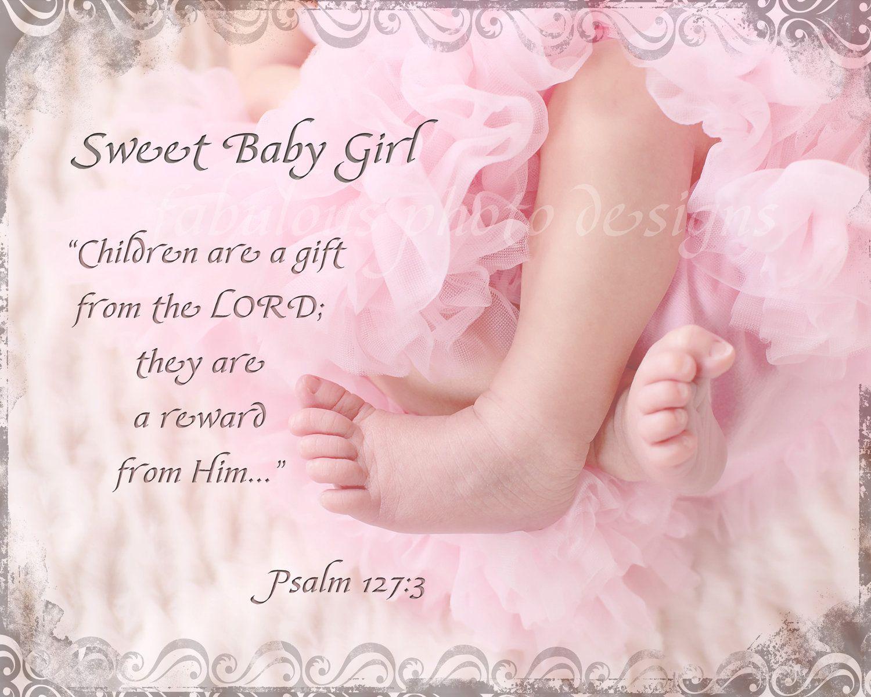 8x10 sweet baby girl or custom name birthdate nursery