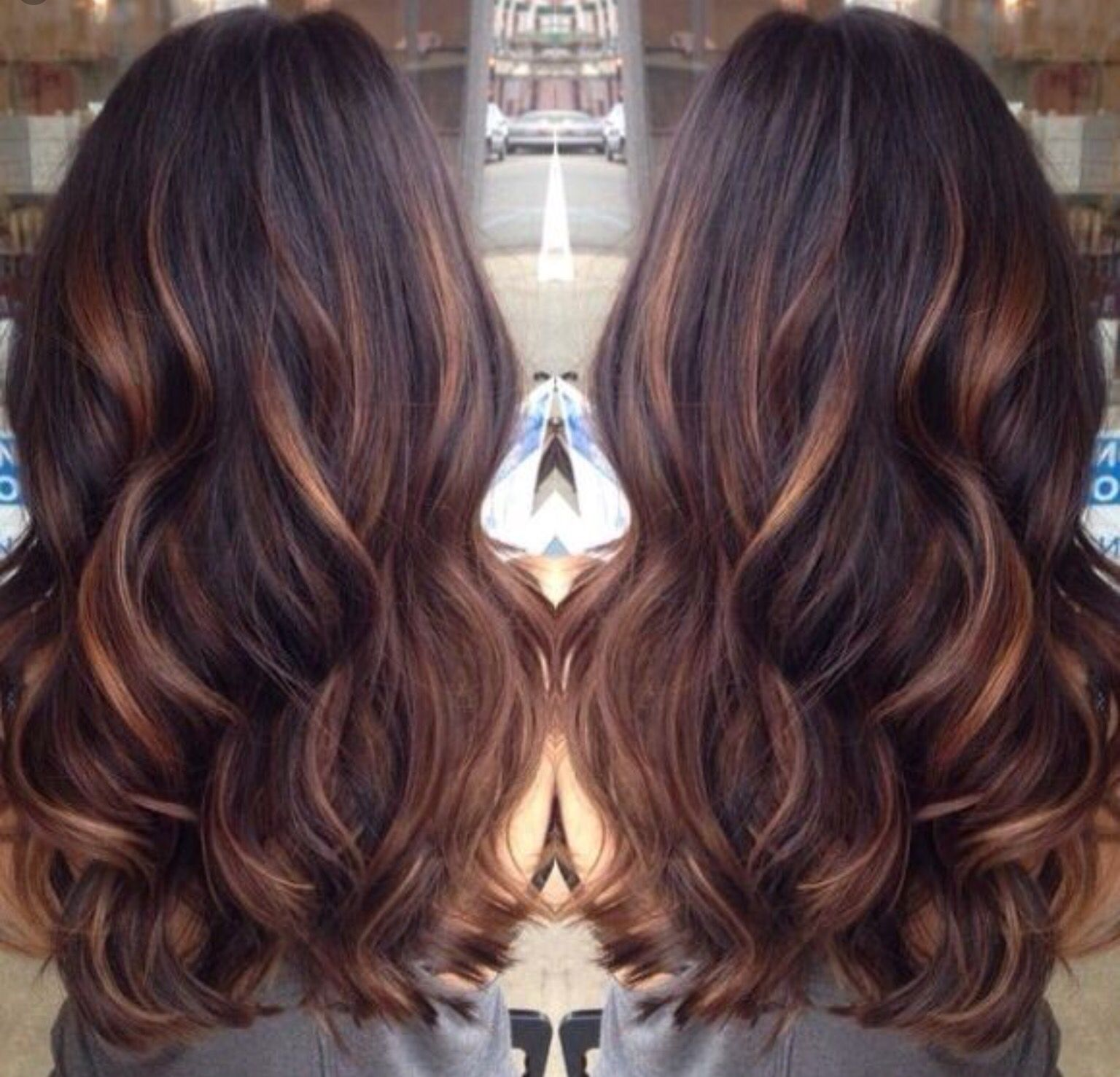 Dark Brown Hair With Caramel Lowlights Cool Hair Color Hair