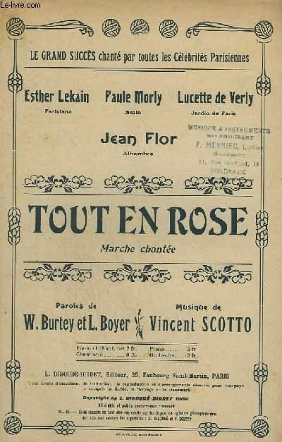Tout en Rose--sheet music to one of Gaby Deslys' three known recordings