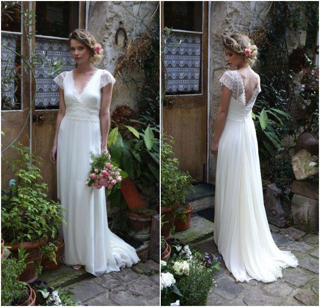Robe de mariée bohème romantique par Elsa Gary