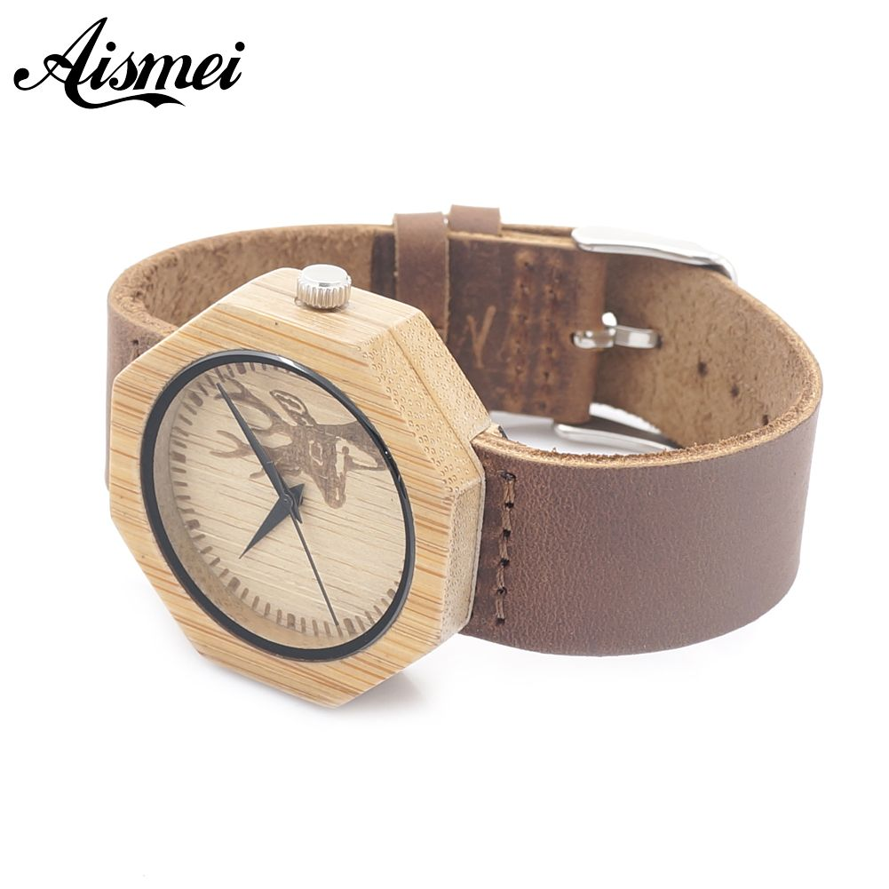 Aliexpress.com : Buy Mens Women Elk Design Octagon Bamboo Wooden Watches Luxury Wooden Bamboo Watches With Leather Quartz Watch with box from Reliable watch batterie suppliers on Topsell Fashion Trading CO.,LTD