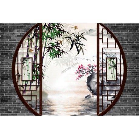 Papier Peint Paysage 3D Asiatique Jardin Chinois Bambou Oiseau – Atelier WYBO