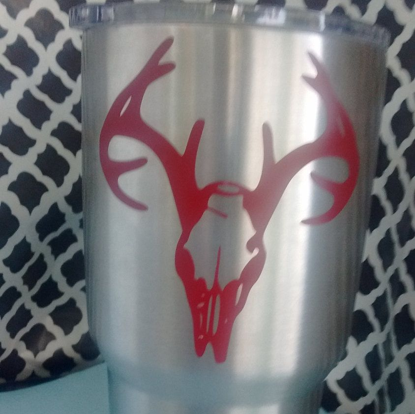 Deer Skull DecalDeer Skull StickerYETI Cup Decal By - Vinyl stickers for cups