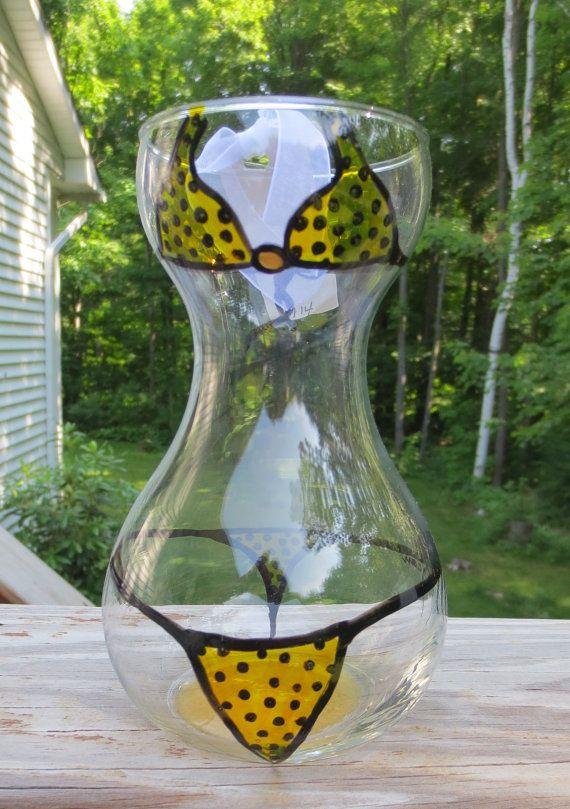 Glass Beach Party Flower Vase Teeny Weenie Yellow Polka Dot Bikini