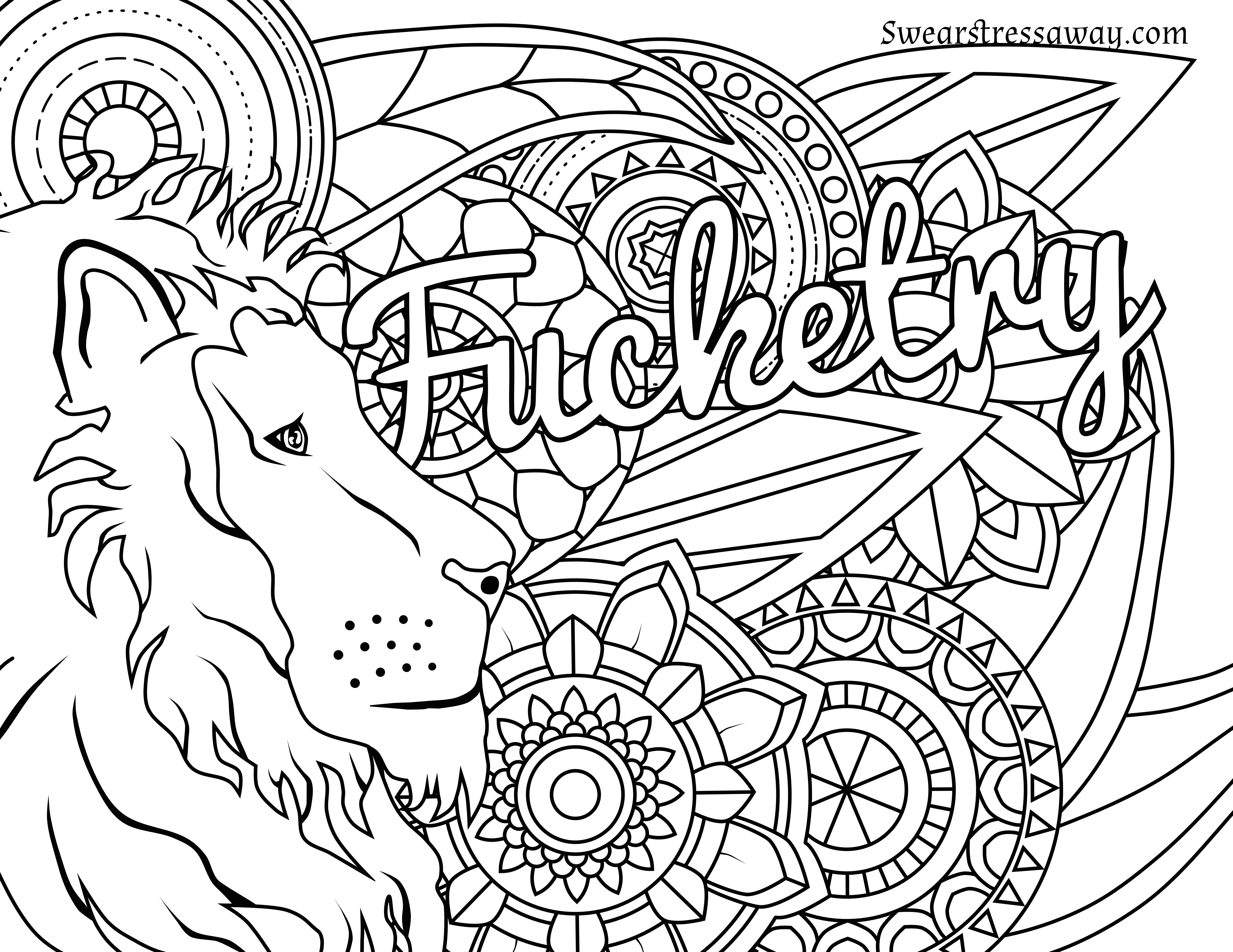 - Fucketry - Swear Word Coloring Page - Adult Coloring Page
