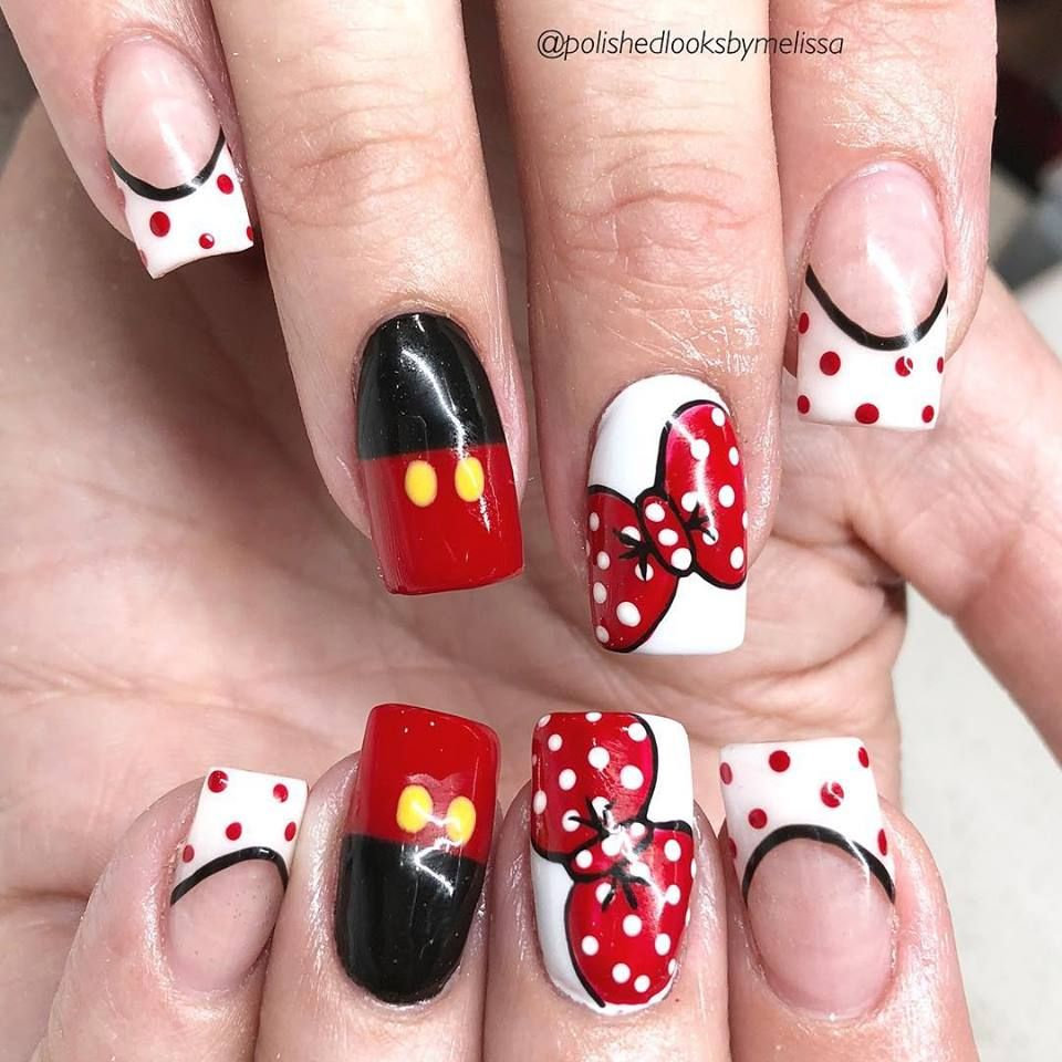 Disney Nails Disney Nail Art Disney Nail Designs Disneyland Mickey Mouse Nails Minnie Mouse Na Disney Acrylic Nails Disney Nails Nail Art Disney
