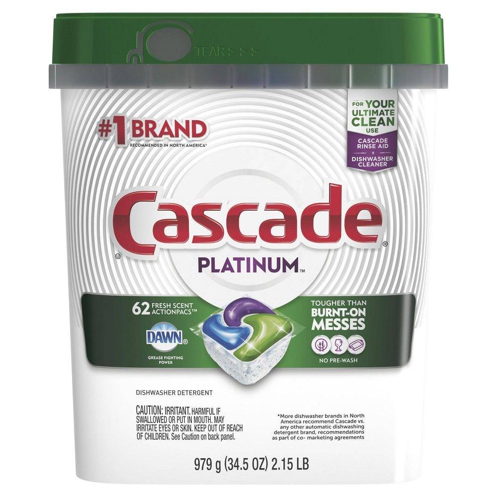Cascade Platinum Actionpacs Dishwasher Detergent Fresh 62ct