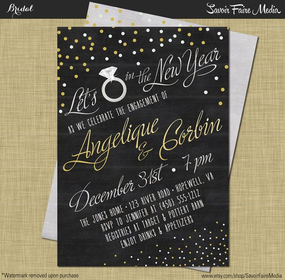 new years engagement party invitation modern vintage