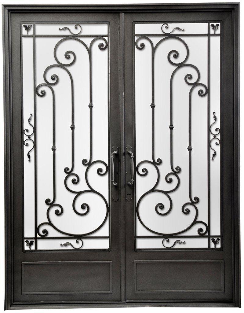 Puerta Doble Hoja Recta Bambu Wrought Iron Doors Grill Door Design Iron Doors
