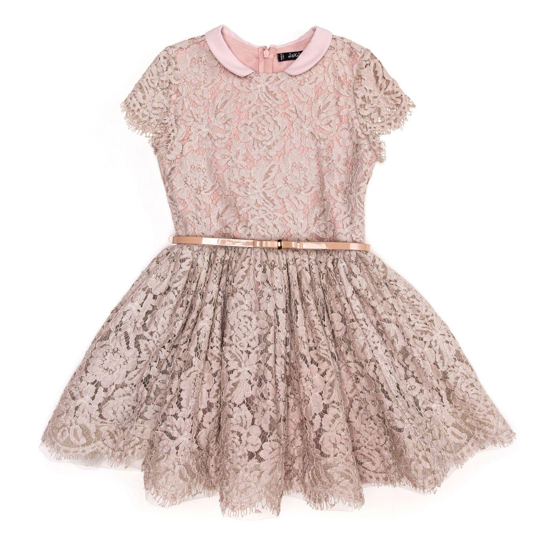 Jakioo udsalg børnetøj Rosa blondekjole med korte ærmer og bælte tilbud børnetøj