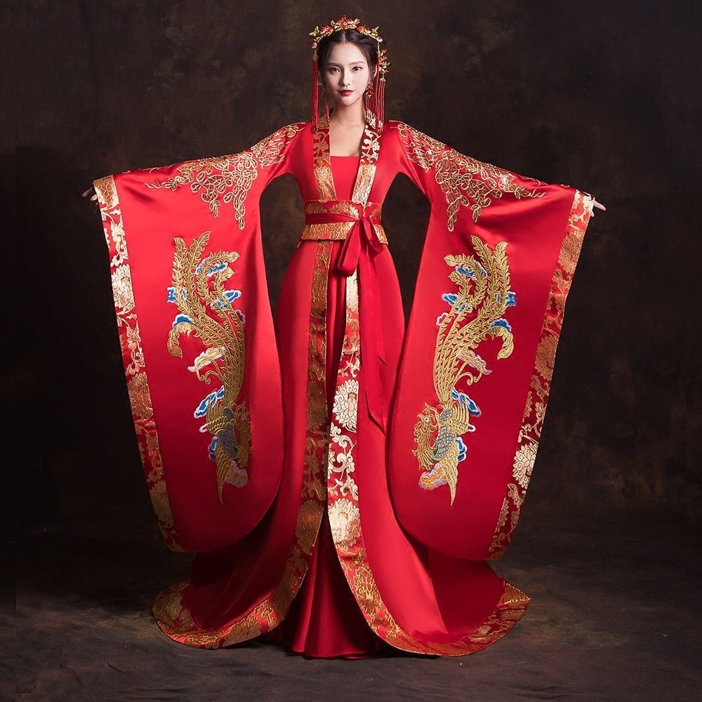 Chinese traditional Han Dynasty wedding red dresses