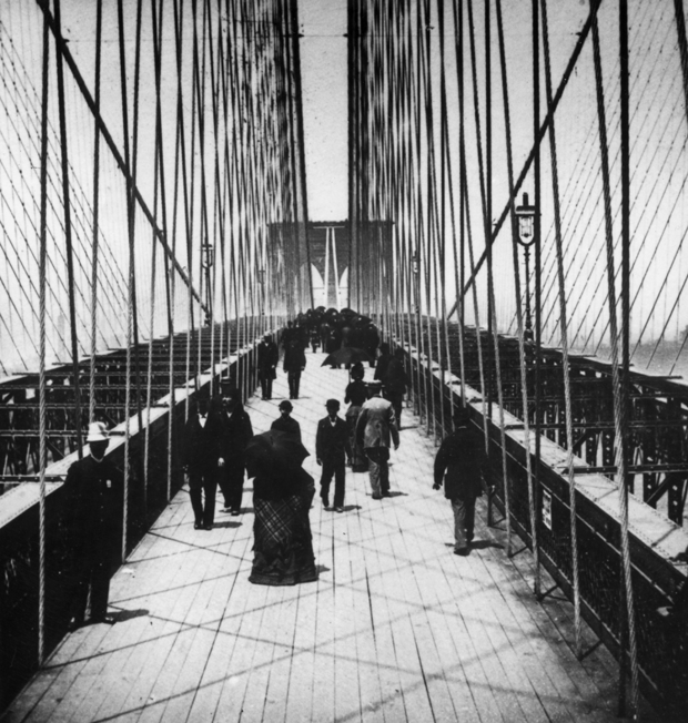 1883 People walk on the bridge, while a policeman stands
