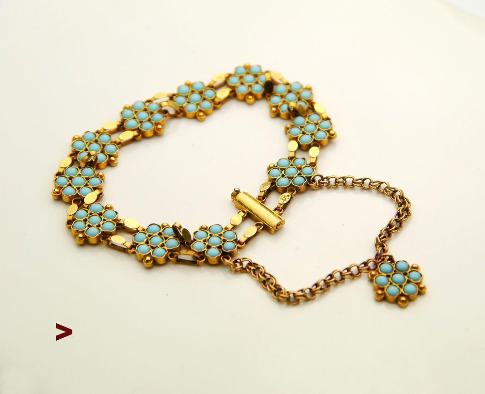 Antique European Bracelet Solid 14k Gold Turquoise 15 Gr