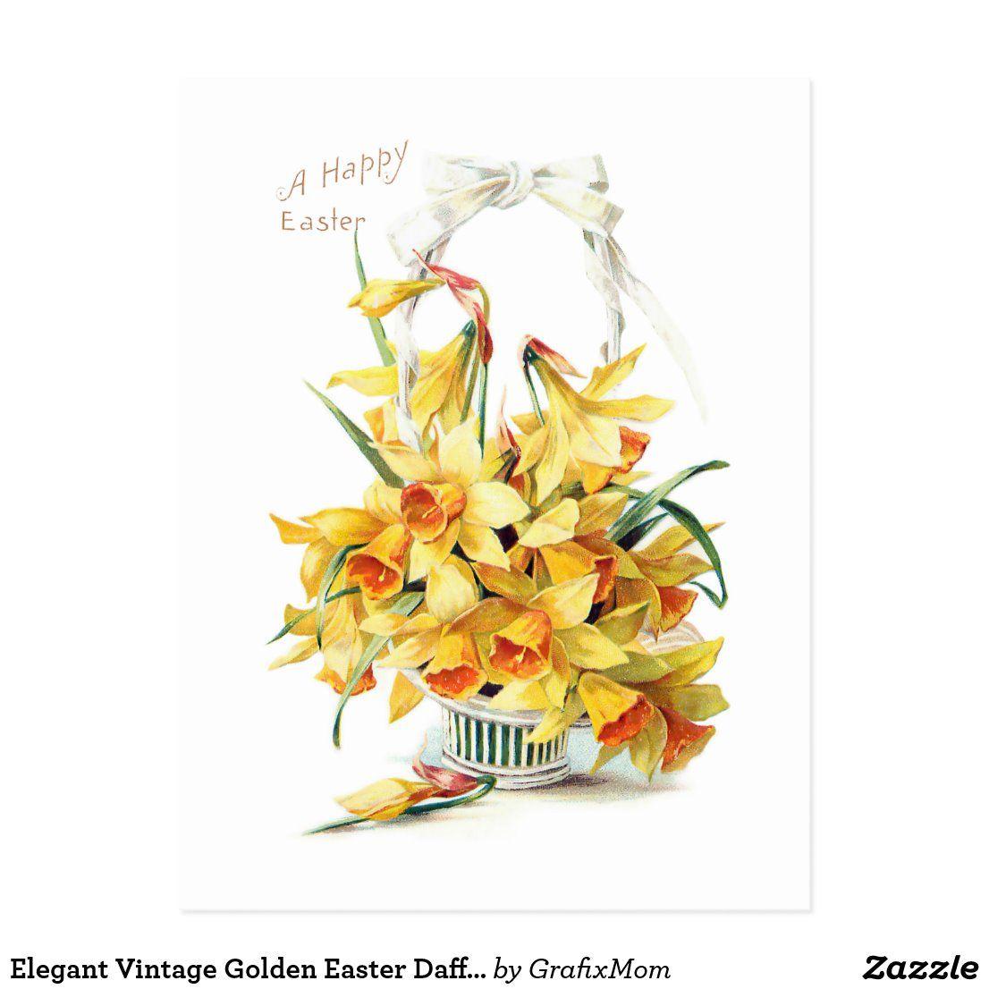 Elegant Vintage Golden Easter Daffodils Postcard Zazzle