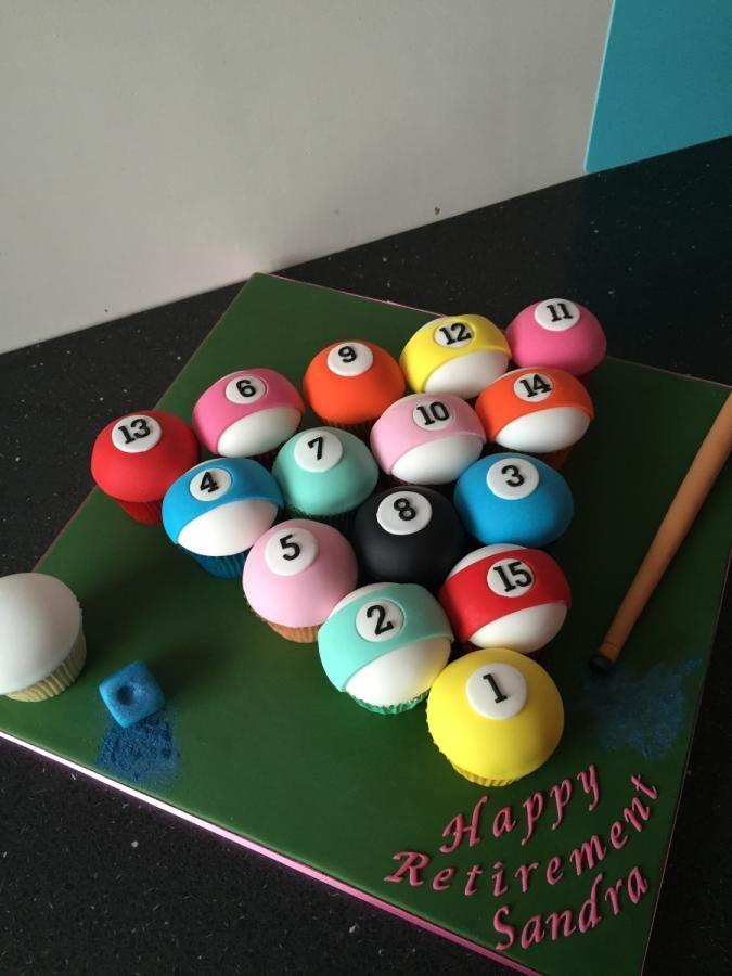 Pool Table Balls Cupcskes Cake By Donnajanecakes