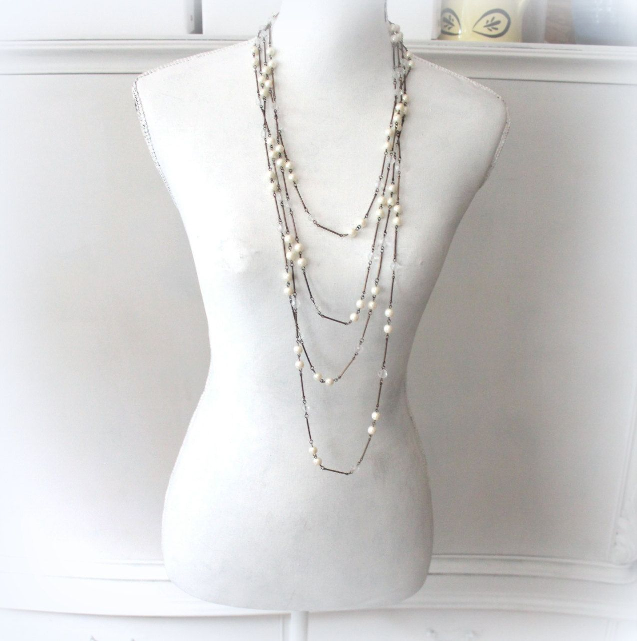 multi strand necklace- old pearl necklace- long chic vintage chains by Sweetlakevintage on Etsy