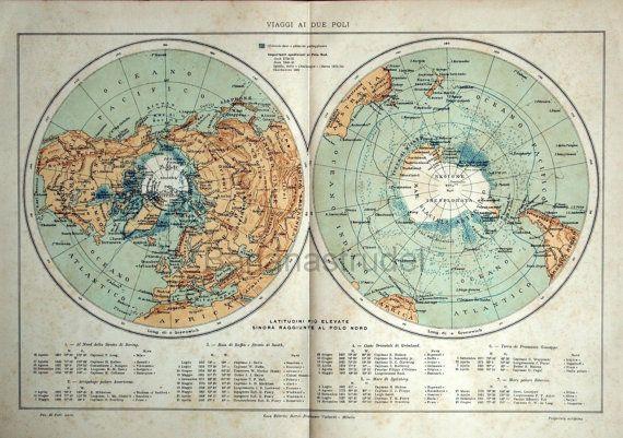 1907 grande chromolithographie italien des régions polaires