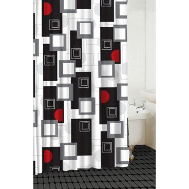 Modern Shower Curtain With Various Shapes In Black Red White And Grey Red Shower Curtains Bathroom Red Black Shower Curtains
