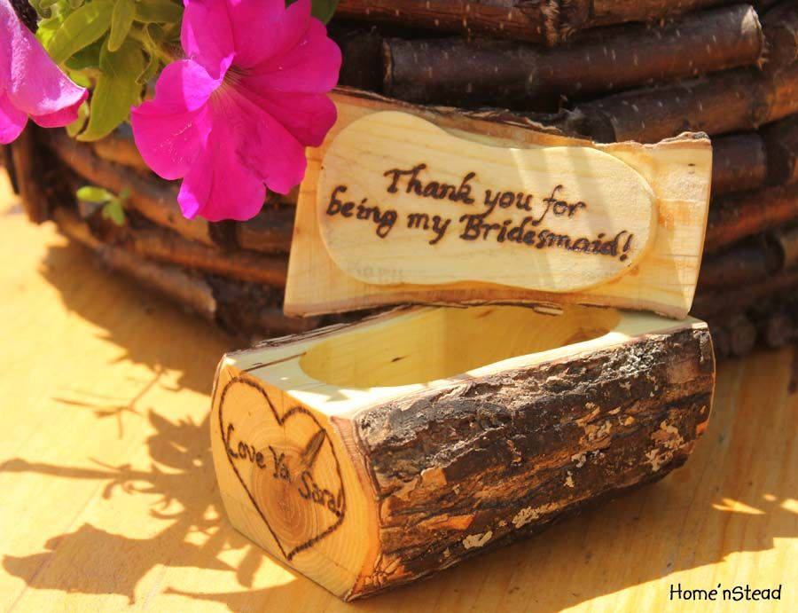 """Thank you for being my Bridesmaid!"" Gift Rustic Jewelry Box by thatfamilyshop"