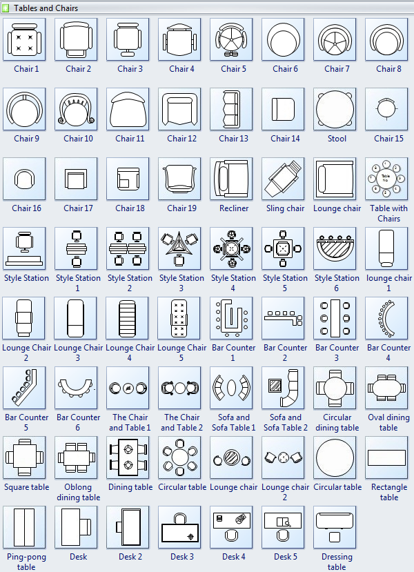 Tables and chairs symbols for floor plan interior design for Design office layout online free