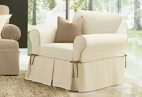 Sure Fit Slipcovers Cotton Canvas One Piece Slipcovers   Chair