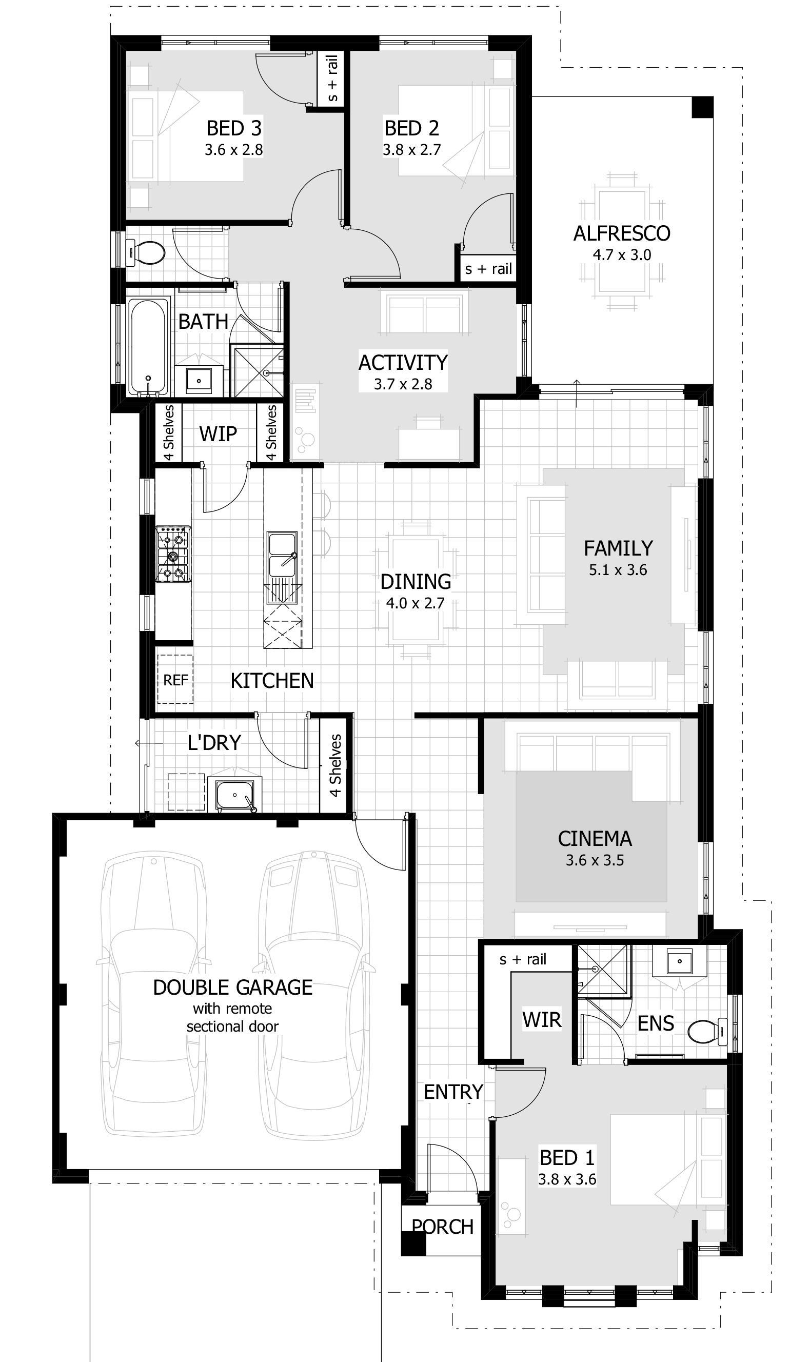 Three Bed Room Single Storey House Plans Three Bedroom House Plan Floor Plan Design