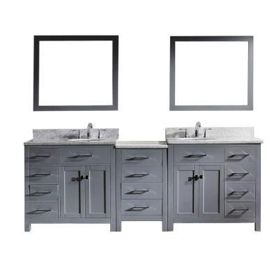 Virtu Usa Caroline Parkway 92 In W Bath Vanity In Gray With