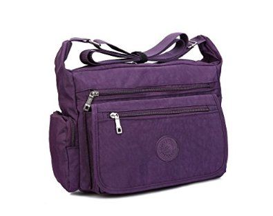 218427b573 Women Casual Shoulder Bags Zipper Canvas Messenger Handbags (Purple)   Handbags  Amazon.com
