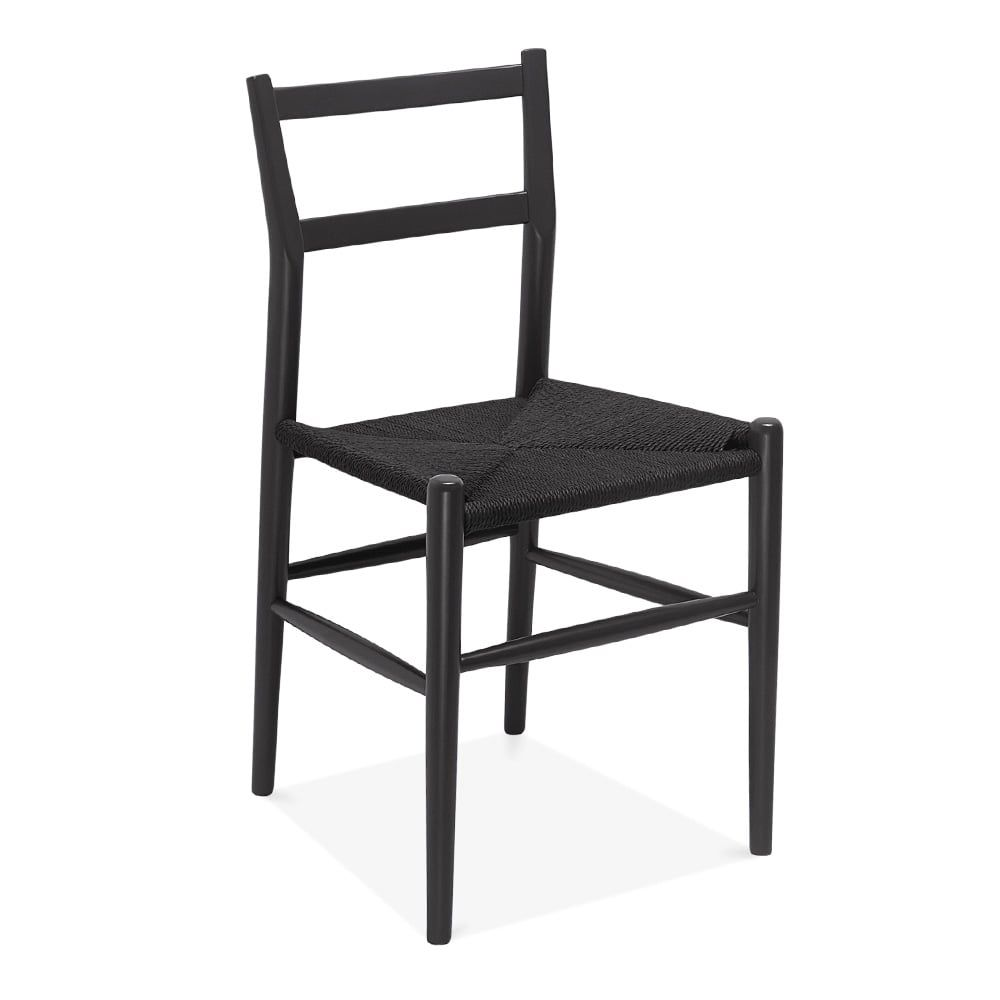 Danish Designs Leon Wooden Dining Chair with Woven Seat - Dark Grey ...