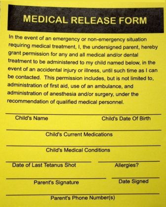 Medical Authorization Consent Release Form For Grandparents  Summer