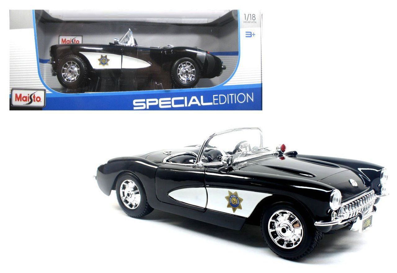 Diecast auto world maisto 1 18 scale 1957 chevy corvette highway patrol police diecast