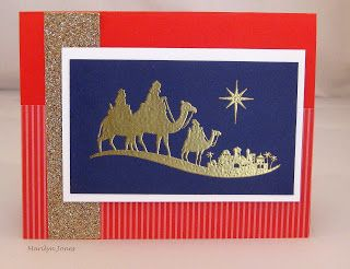 by Marilyn Jones- Paper Dreams  Come to Bethlehem in Poppy Parade, Concord Crush, Champagne glitter & gold embossing